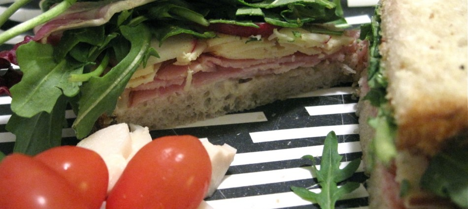 honey ham with somked gouda, arugula and radish
