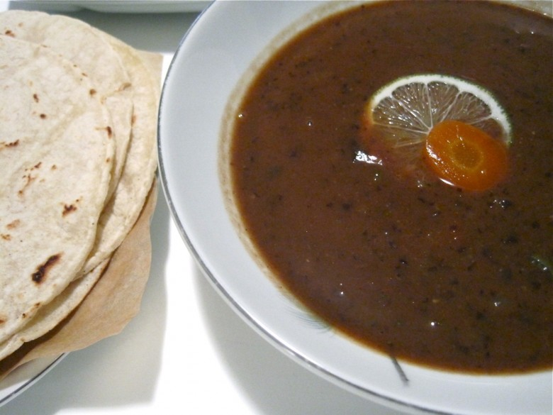 black bean soup with corn tortillas