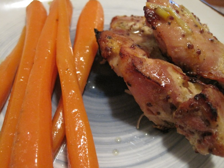 mustard chicken with buttered cumin carrots