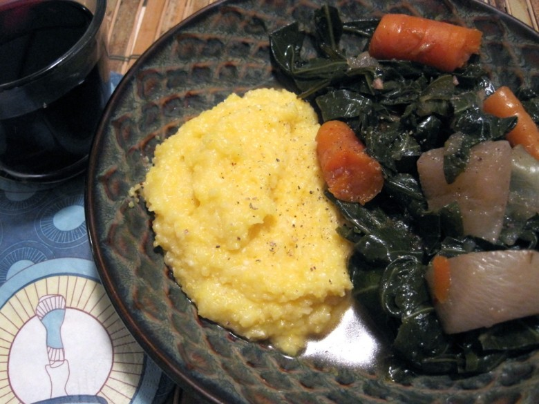 collard greens and polenta grits