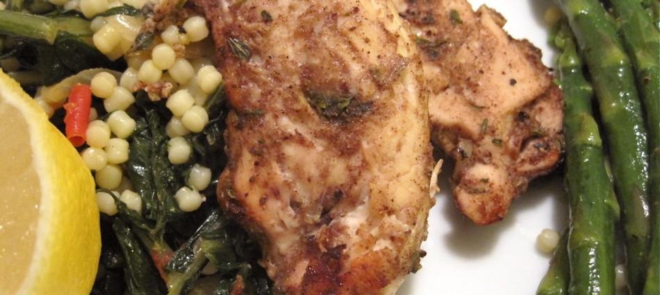 mediterranean chicken with dandelion greens and asparagus