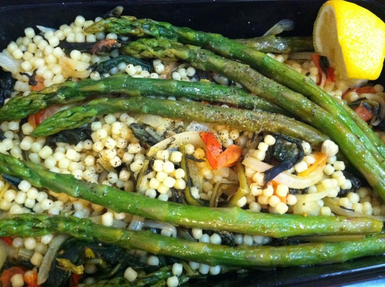 dandelion greens pastina and asparagus work lunch