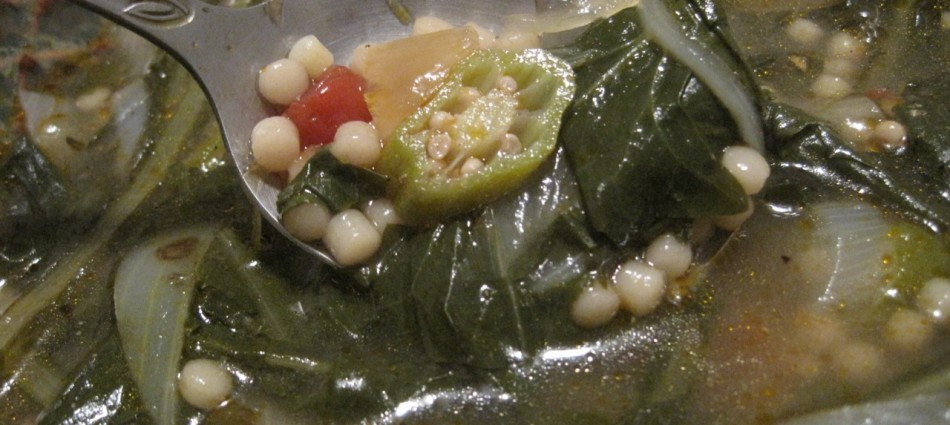 dandelion green and okra soup with pastina