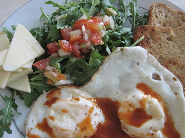 breakfast eggs salsa arugula salad cheese