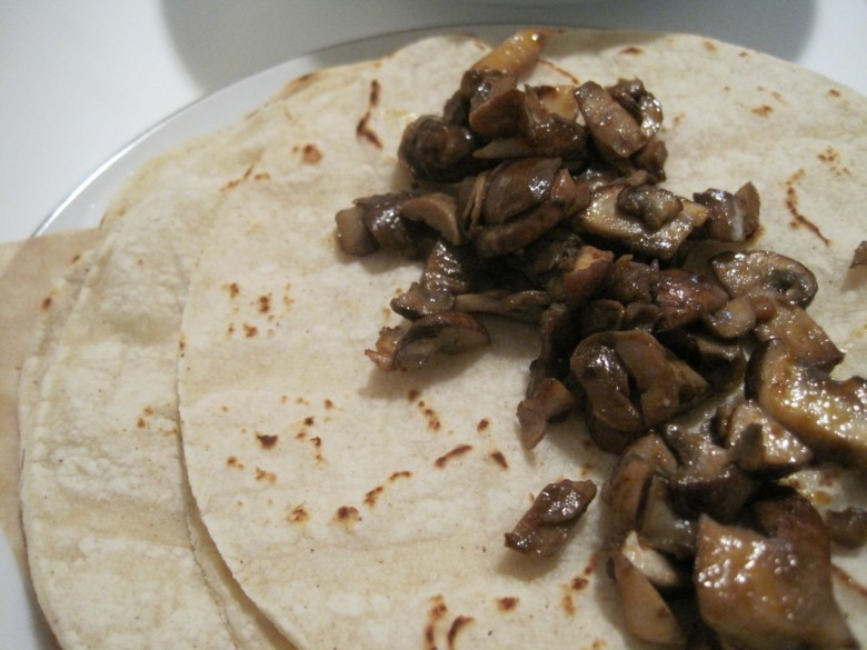 vegetarian mushroom taco on corn tortilla