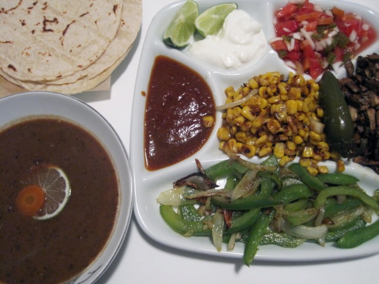 veggie taco platter with black bean soup
