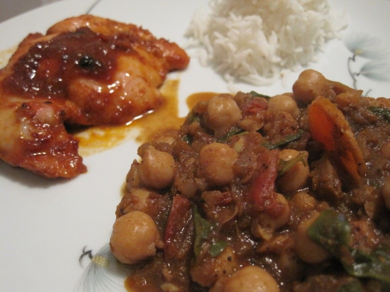 chickpea curry with harissa honey bbq chicken and basmati rice
