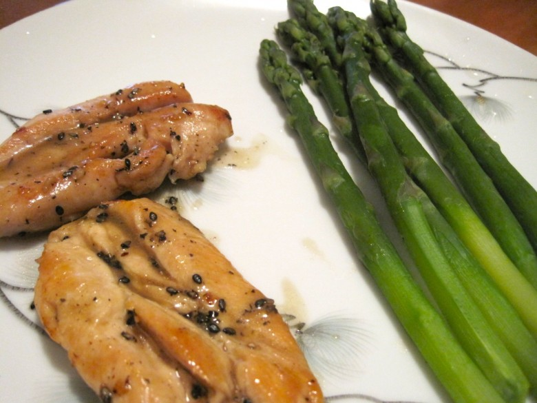 sesame lemon chicken with asparagus