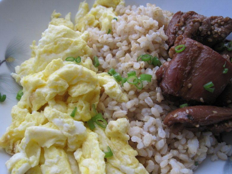 teriyaki chicken with eggs and brown rice