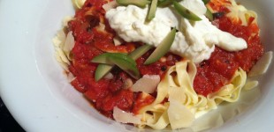 tagliatelle marinara with burrata & cerinola olives