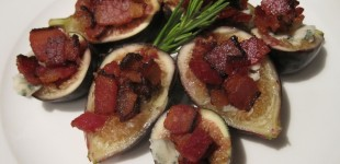black mission figs with roquefort and bacon