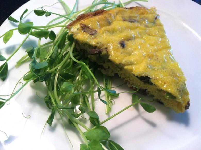 asparagus mushroom and Gruyere frittata