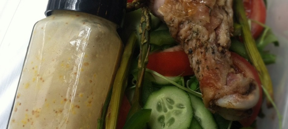 reuse an empty spice container for salad dressing