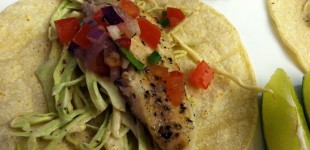 fish tacos w/ cabbage, pico & chipotle sauce