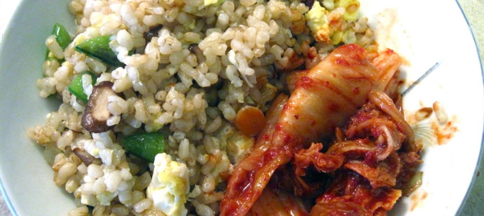 fried brown rice with fresh veggies and kimchi