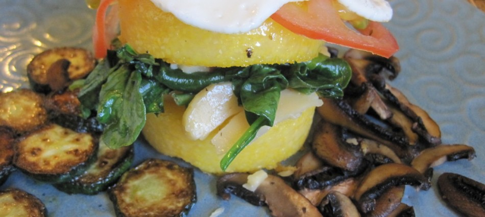 polenta and egg breakfast sandwitch