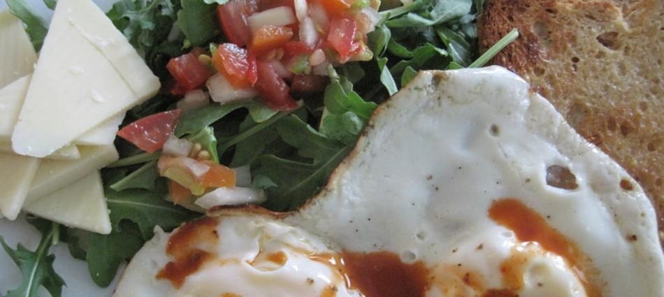 breakfast eggs salsa arugula salad cheese