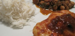 chickpea curry with harissa honey cumin bbq chicken
