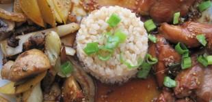 sesame teriyaki chicken with summer veg