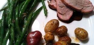 pork loin w/ pomegranate balsamic reduction