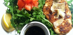 chicken milanese with arugula