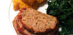 birdloaf with mashed sweet potatoes